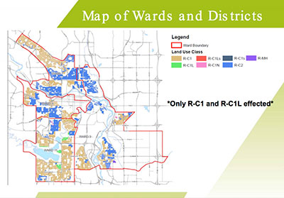 Map of low-density areas in Wards 7, 8, 9, and 11 presented to council by City Wide Policy and Integration are targets of new secondary suite reform approval to Bylaw 14P2015. Photo courtesy of City Wide Policy and Integration